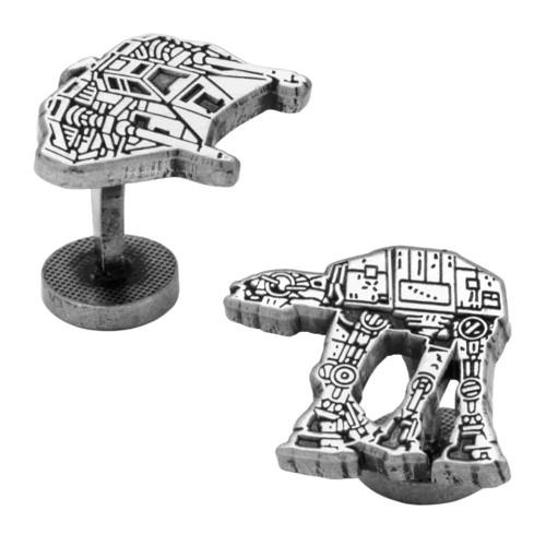 Star Wars Men's Snowspeeder and AT-AT Walker Battle of Hoth Cufflinks (SW-HOTH-SL)