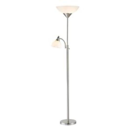 Adesso Piedmont 71 in. Satin Steel Combo Floor Lamp