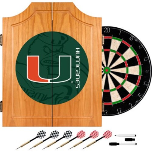 Trademark University of Miami Fade 20.5 in. Wood Dart Cabinet Set