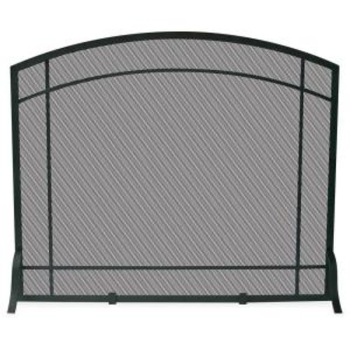 UniFlame Black Wrought Iron Single-Panel Fireplace Screen with Mission Design