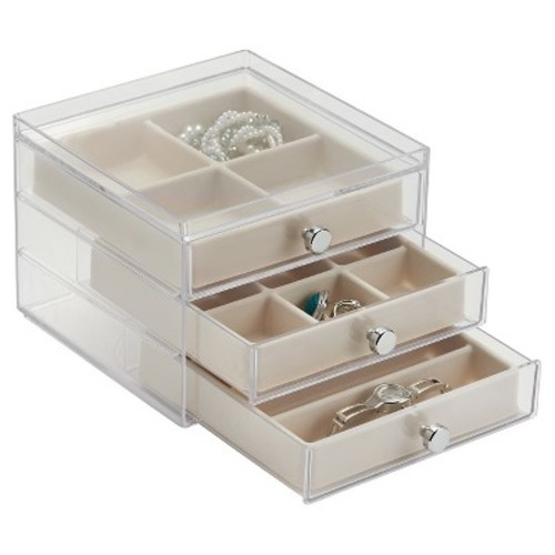 InterDesign Fashion Jewelry Organizer Box for Rings, Earrings, Bracelets, Necklaces, 3-Drawer, Clear/Ivory