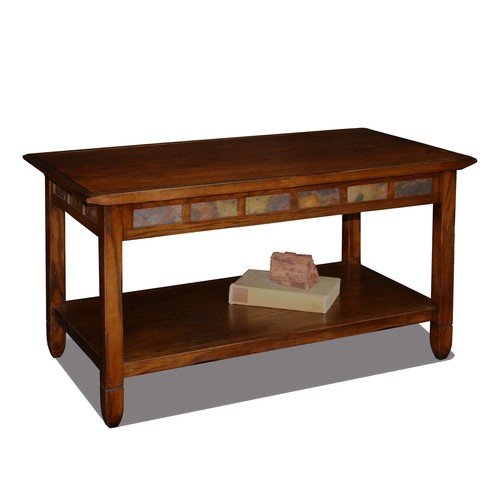 Leick Rustic Slate Rectangular Coffee Table - Rustic Oak Finish