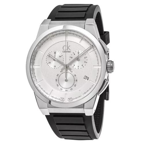 Calvin Klein Men's K2S371D6 'Dart' Silver Dial Black Rubber Strap Chronograph Swiss Quartz Watch