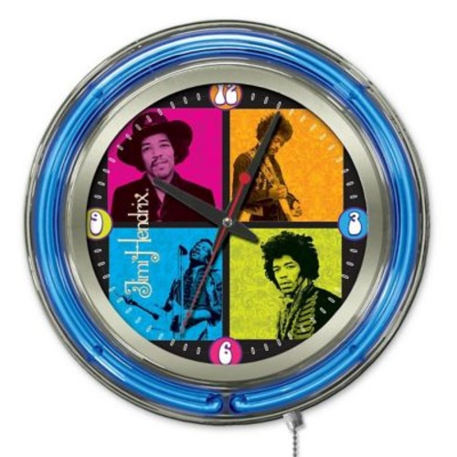 Holland Bar Stool Jimi Hendrix 4 Square Double Neon Ring Logo Wall Clock; 15'' H x 15'' W x 3'' D