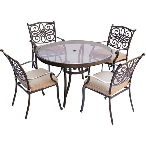 Hanover Traditions 5-Piece Aluminum Outdoor Dining Set with Round Glass-Top Table with Natural Oat Cushions