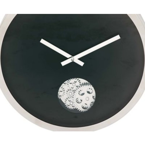 Cole & Grey Stainless Steel Gear 17'' Wall Clock; Black