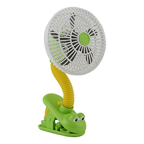 O2COOL 4-Inch Portable Stroller Clip Fan in Green/Yellow Frog