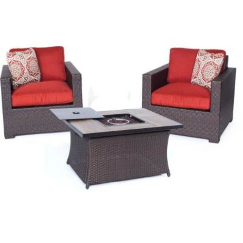 Hanover Metropolitan 3-Piece All-Weather Wicker Patio LP Gas Fire Pit Chat Set with Autumn Berry Cushions