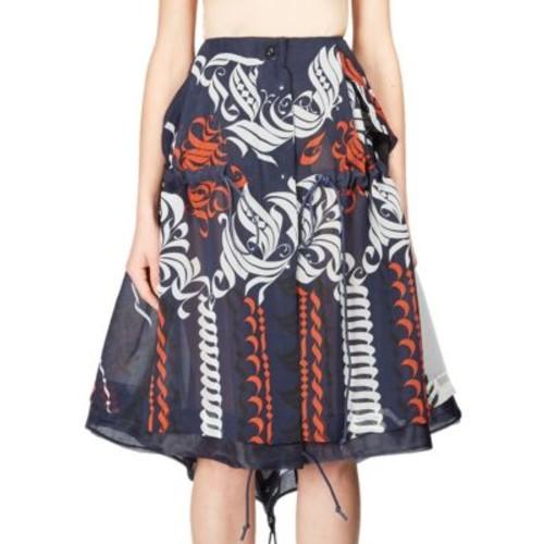 SACAI Printed Drawstring Skirt