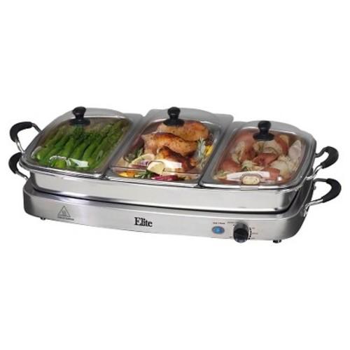 Elite Platinum - Triple Deluxe Buffet Server - Stainless-Steel