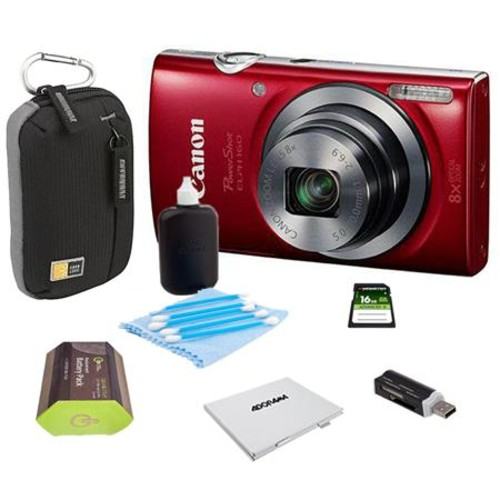 Canon PowerShot ELPH 160 Digital Camera, Red with 0143C001 B