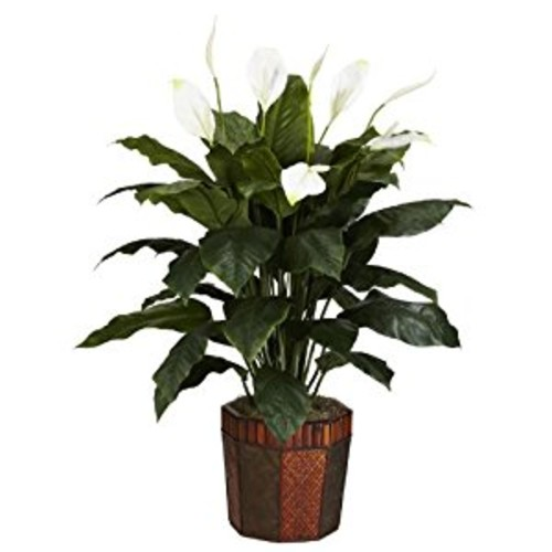 Nearly Natural 6638 Spathiphyllum with Vase Decorative Silk Plant, Green [Green]