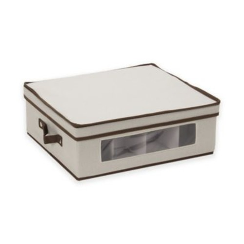 Household Essentials Cup China Storage Box in Cream/Brown