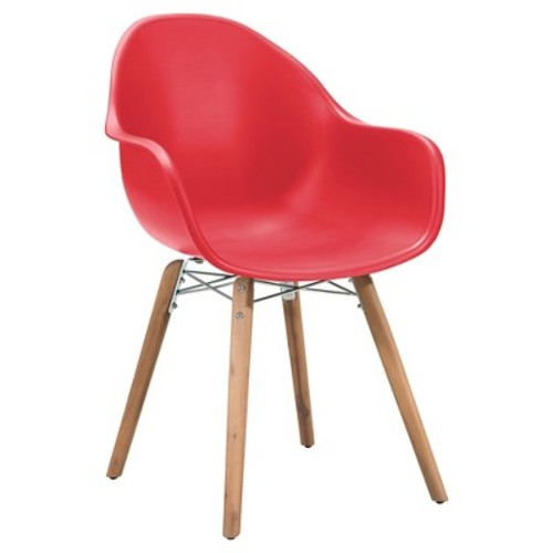 Mid-Century Modern 4pk Outdoor Dining Chair - Red - ZM Home