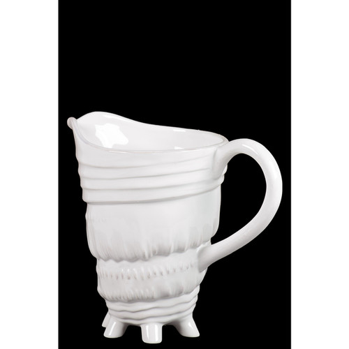 Ceramic Pitcher With Distinctive Seashell Pattern With Tiny Multileg In White