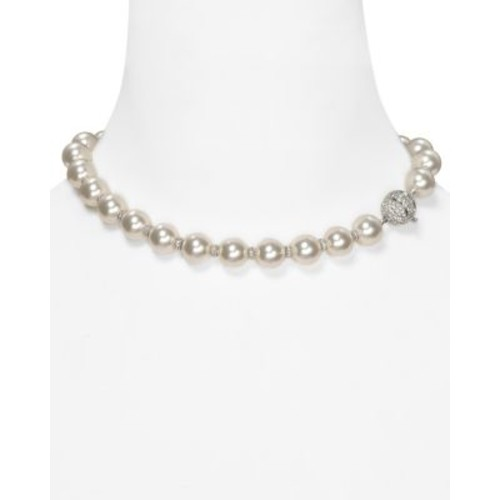 Simulated Pearl and Crystal Rondelles Necklace, 16