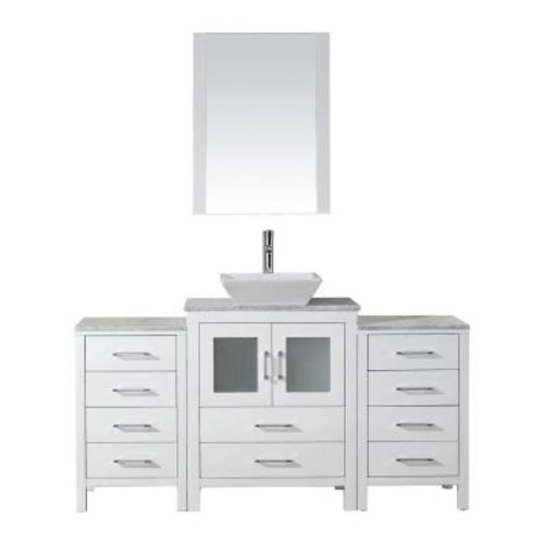 Virtu USA Dior 64 in. W x 18.3 in. D Vanity in White with Marble Vanity Top in Carrara White with White Basin and Mirror