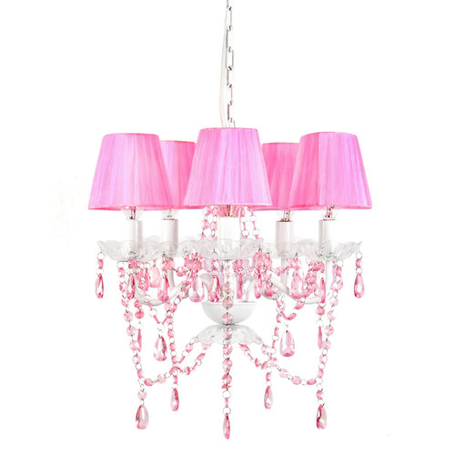 Tadpoles 5 Bulb Shaded Chandelier - Pink Sapphire