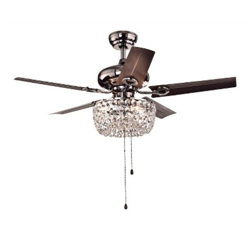 Warehouse of Tiffany Angel 43 in. Indoor Bronze 5-Blade Crystal Chandelier Ceiling Fan with Light Kit