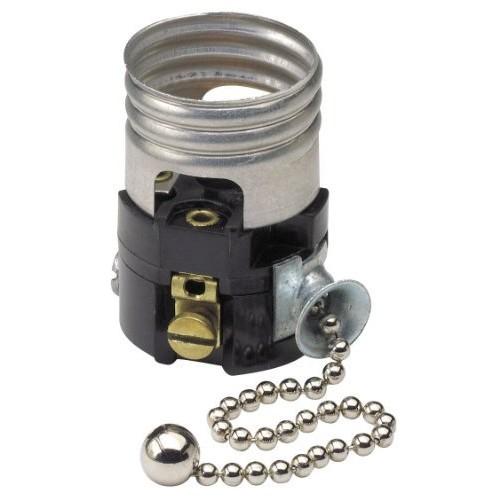 Leviton 19980-M Medium Base Interior Only, Shell Incandescent Lampholder, Pull Chain, Single Circuit