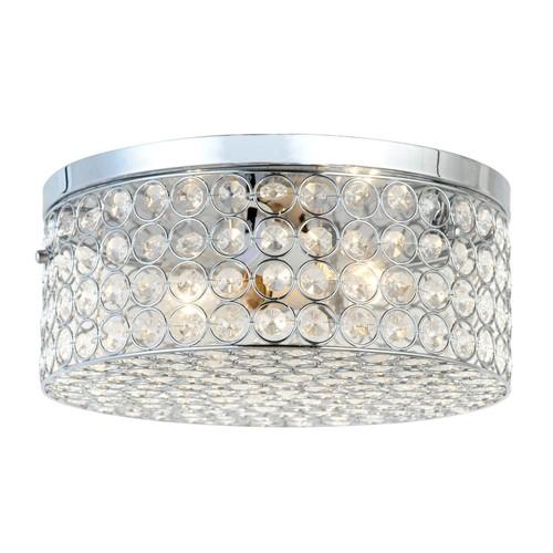 Elegant Designs 12 in. 2 Light Elipse Chrome Round Flushmount