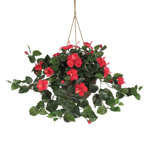nearly natural Artificial Hibiscus Hanging Basket