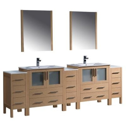 Fresca Torino 96 in. Double Vanity in Light Oak with Ceramic Vanity Top in White with White Basins and Mirrors