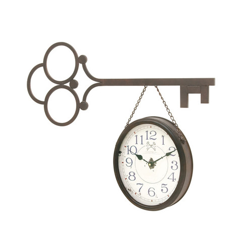 Brown/ Black Metal Wall Clock