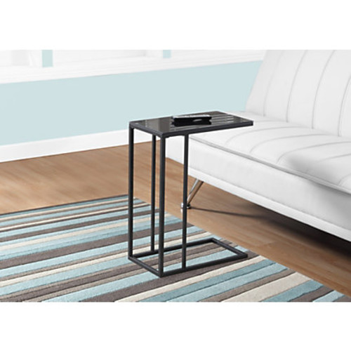 Monarch Specialties Tapered Accent Table, With Glass Top, Rectangle, Black