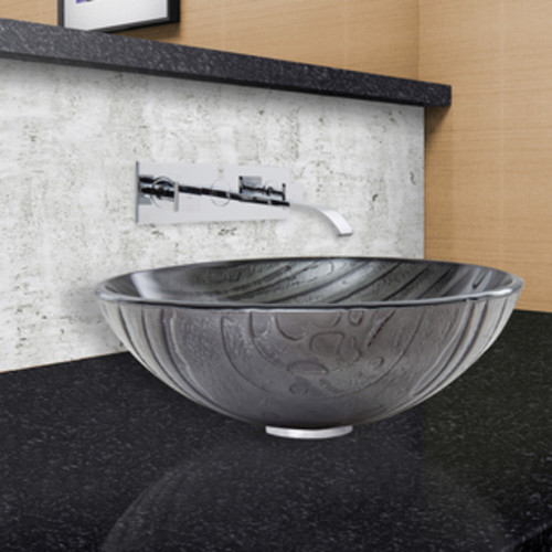 VIGO Sheer Black Frost Glass Vessel Sink and Titus Wall Mount Faucet Set in a Brushed Nickel Finish