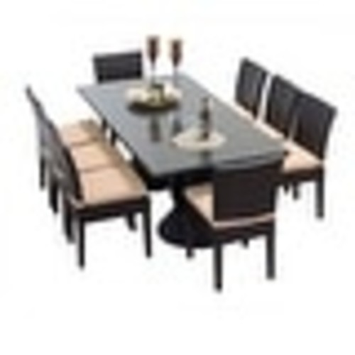 Miseno MPF-NAPARECTKIT8C Wine Country 9-Piece Aluminum Framed Outdoor Dining Set with Rectangular Glass Tabletop and Side Chairs
