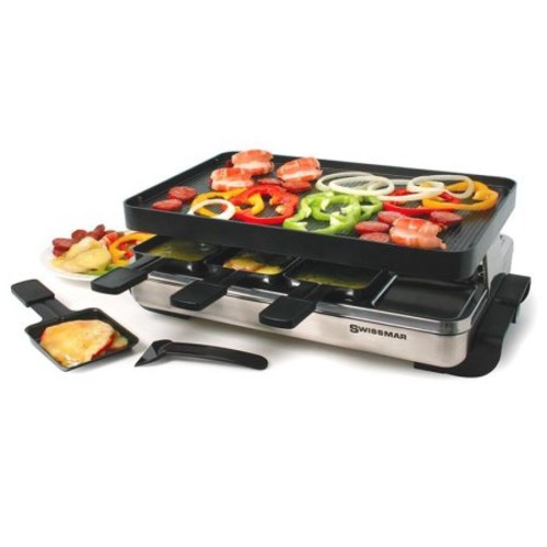 Swissmar KF-77080 Stelvio 8-Person Raclette Party Grill with Reversible Cast Aluminum Non-Stick Grill Plate/ Crepe Top, Brushed Stainless Steel [Cast Aluminum Non-Stick Top]