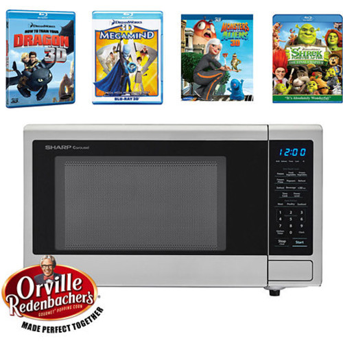Sharp Movie Night with Orville Redenbachers Certified 1.1 cu. ft. Carousel Microwave Oven and 4 Blu-ray 3D Movies SMC1132CS-5-KIT