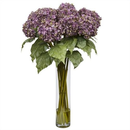 Nearly Natural Hydrangea Silk Flower Arrangement in Purple