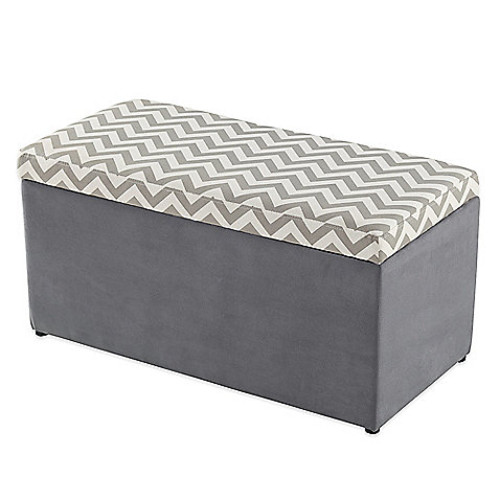 Tree House Lane Chevron Upholstered Toy Chest in Grey and White