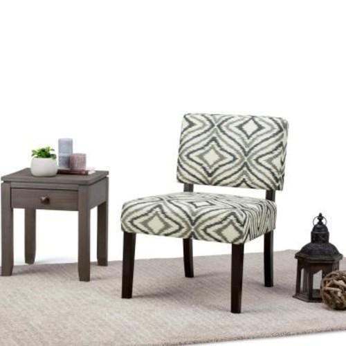 Simpli Home Virginia Grey Fabric Slipper Chair