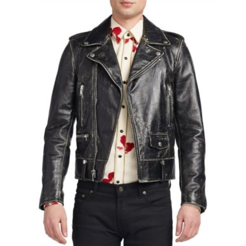 SAINT LAURENT Distressed Leather Jacket