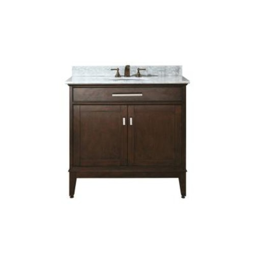Avanity Madison 37 in. W x 22 in. D x 35 in. H Vanity in Light Espresso with Marble Vanity Top in Carrera White and White Basin