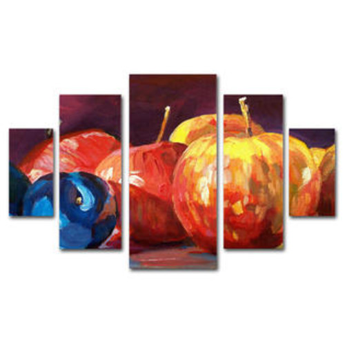 Trademark Global 'Ripe Plums and Apples' by David Lloyd Glover 5 Piece Panel Art Set