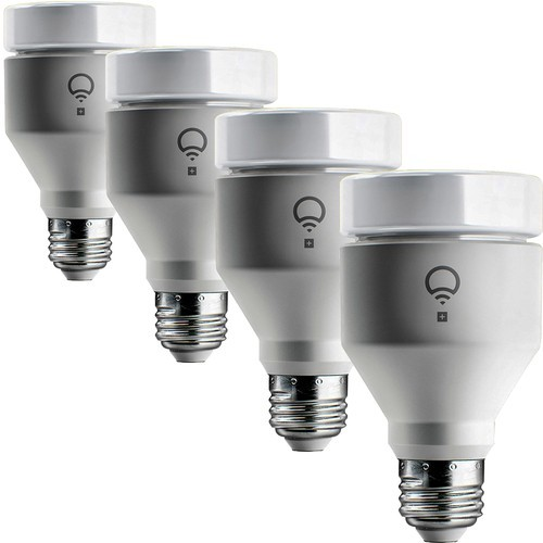 LIFX - 4-Pack of LIFX+ 1100-Lumen, 11W Dimmable A19 LED Light Bulbs - Multicolor and Infrared