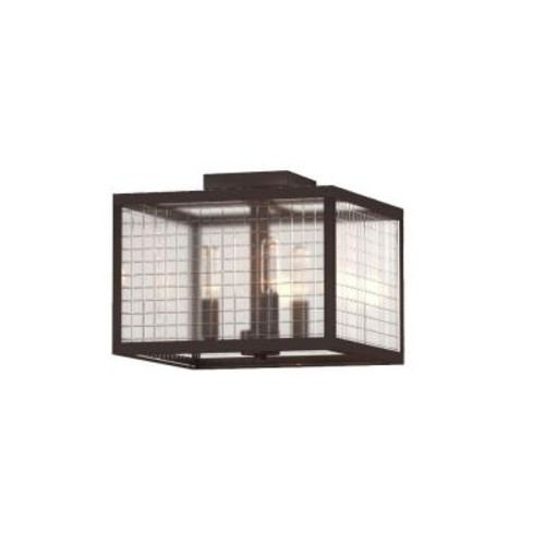 Home Decorators Collection 12 in. 3-Light Oil-Rubbed Bronze Flushmount with Etched Clear Glass Shade