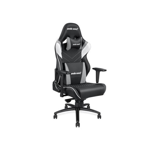 Anda Seat Assassin King Series Big and Tall Gaming Chair, High-Back Desk and Office Chair 400LB With Lumbar Support and Headrest (Black/White/Grey) AD4XL-03-BWG-PV