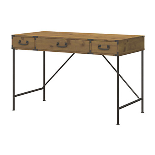 kathy ireland Office by Bush Furniture Ironworks Writing Desk, Vintage Golden Pine, Standard Delivery