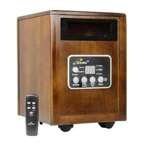iLiving 1500Watt Wood Cabinet Infrared Portable Space Heater