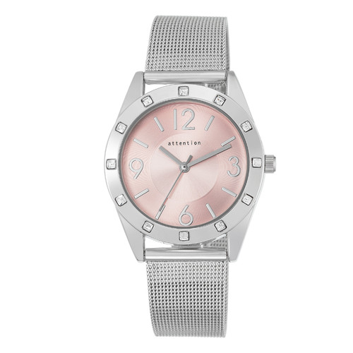 Attention Ladies Silvertone Mesh Bracelet with Pink Dial Watch