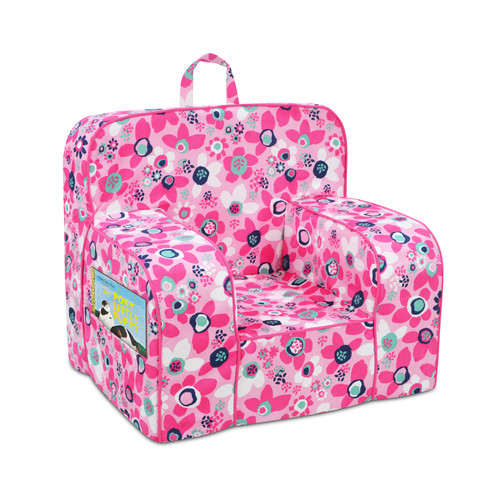 Kangaroo Mason Grab-n-Go Foam Chair with Handle and 2 Pockets - Wildflower/Passion Pink