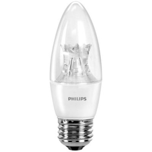 Philips 40W Equivalent Soft White B11 Dimmable Blunt Tip Candle with Warm Glow Light Effect LED Light Bulb (E)