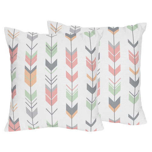 Sweet Jojo Designs Decorative Accent Throw Pillows for the Coral and Mint Mod Arrow Collection by