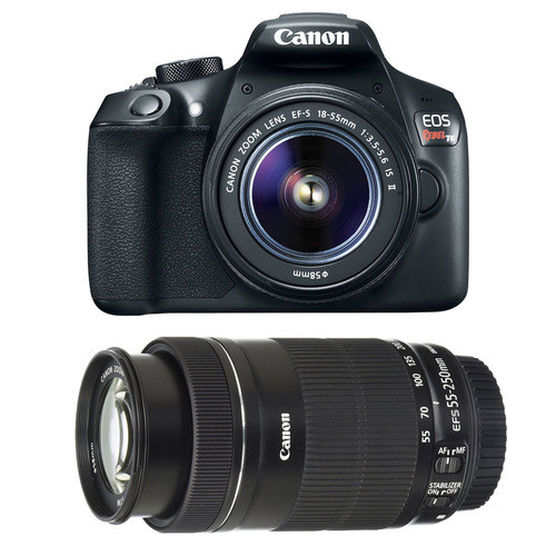 Canon EOS Rebel T6 DSLR Camera with EF-S 18-55mm IS II and EF-S 55-250mm IS STM Lenses