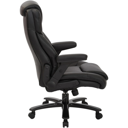 Office Star Big and Tall Deluxe High Back, Black Bonded Leather Executive Chair with Padded Flip Arms